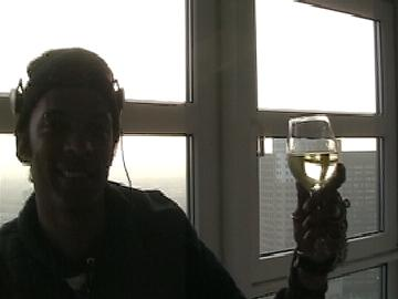 Finn and glass of wine